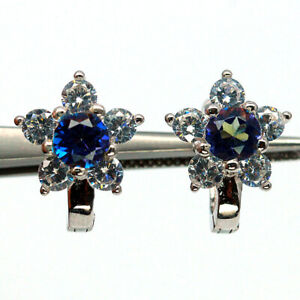 NATURAL 5 mm.  MUTICCOLOR BLUE IOLITE & WHITE CZ 925 STERLING SILVER EARRINGS
