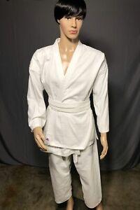WHITE GI Robe Uniform Aikido Jiu-Jitsu Judo Karate Kung Fu Taekwando Size 5 Med