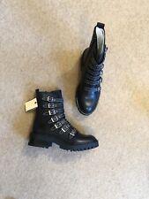 Zara Black Leather Studded Biker Boots With Buckles UK8 EU41 US10 # 572