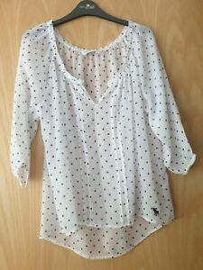 Abercrombie & Fitch White Polka Dit Top Size M