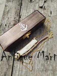 Nautical Maritime Brass/Copper Boatswain Whistle Bosun Call Pipe Wood Box