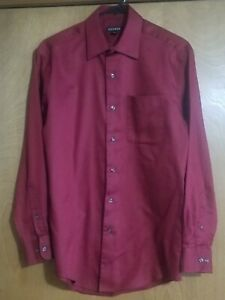 GEORGE Men's cinnamon red/burgundy  Plain Long Sleeve Shirt Size Small