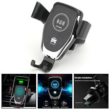 QI Wireless Fast Charger Car Mount Holder Dock For iPhone XS Samsung Note 9 BLK