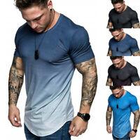 Men O-neck Slim Fit T-Shirt Gradient Color Short Sleeve Tops Leisure Blouse Tees