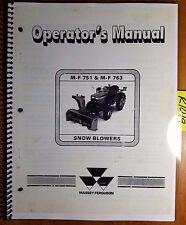 Massey Ferguson MF 751 MF 763 Snow Blower Owner Operator Manual 1449 086 M3 9/86