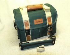 Retro Canon Green Camera Gadget Equipment SLR Bag w/ Leather & Strap. LikeNew