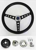 """1968-1969 Charger Dart Coronet Black on Black Steering Wheel 14 1/2""""  Horn Kit"""