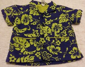 Boys BABY GAP 3 - 6 Month Terry Lined Shirt Blue Green Button Down Infant Top