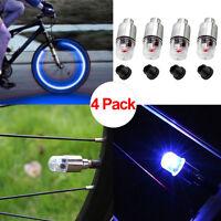 4pcs Blue LED Wheel Tyre Tire Valve Caps Neon Light for MTB Bike Car Motorcycle