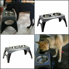 Raised Feeder Double Bowl Stainless Steel For Pets Dog Food Water Dish Stand New