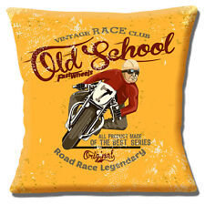 "VINTAGE RETRO RACE CLUB 'OLD SCHOOL' MOTORBIKE ORANGE 16"" Pillow Cushion Cover"