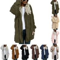 Women's Fleece Fur Jacket Outerwear Tops Winter Warm Hooded Fluffy Coat Popular