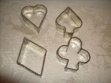 4 Davis Baking Powder Advertising  Metal Cookie Cutter Heart Spade Diamond & Clu