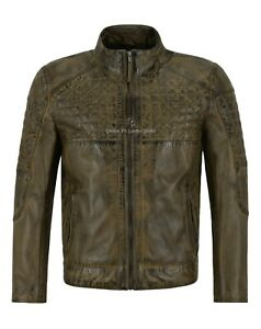 Men's Real Leather Jacket Dirty Brown Napa Quilted Front Casual Biker Style 2510