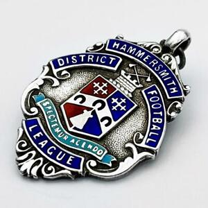 HAMMERSMITH DISTRICT FOOTBALL LEAGUE DIV 3 STERLING SILVER ENAMEL FOB MEDAL 1930