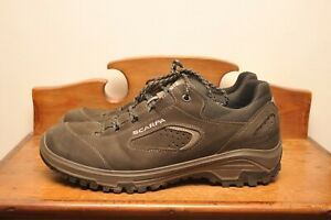 SCARPA STRATOS APPROACH HIKING WALKING SHOES UK 11 EU 46 BLACK / OLIVE BROWN