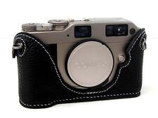 Leather CONTAX G1 ou G2 noir avec blanc couture demi-CASE-BRAND NEW