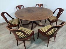 Antiker Empire Esszimmer Tisch Tafel mit 6 Stühlen Stuhl Leder Spieltisch Poker