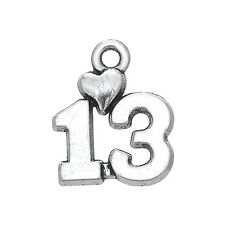 30Pcs Number 13 Charms With Heart Lucky Pendants For 13th Birthday Anniversary