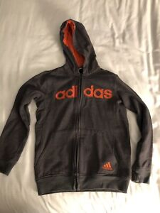 Adidas Grey Zip Front Sweatshirt With Orange Writing & Hood Lining Med 10/12 Kid