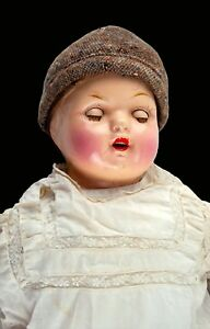 """Vintage Antique 24"""" Unmarked Composition Baby Doll – Soft Body & Sleepy Eyes"""
