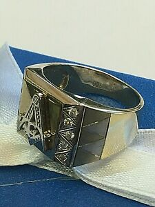 $220 FREEMASON MASONIC MEN'S 2-TONE GOLD 925 STERLING SILVER CZ RING New SIZE 10