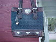 BEAUTIFUL WESTERN COWGIRL PURSE WITH SILVER HEARTS DENIM WEAVE GREAT GIFT NEW!