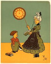 WW DENSLOW ANTIQUE ORIG BOOKPAGE LITHO, A DILLER, A DOLLAR A 10 O'CLOCK SCHOLAR