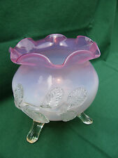 VASE ANTIQUE CRANBERRY VICTORIAN ART GLASS FOOTED FLUTED APPLIED FLOWER RUFFLE