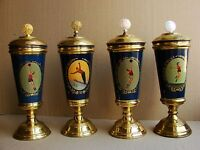 Russian Soviet LOT 4 prize cups Fedoskino lacquer art painting Sport metal 1960
