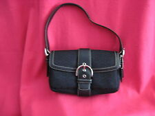 COACH Soho Black Signature Baguette/Handbag Canvas/Leather Pre-Owned