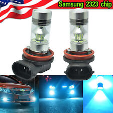 8000K Ice Blue H11 H8 Fog Lights SAMSUNG 2323 LED High Power 100W Driving Bulbs
