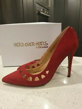 HEAD OVER HEELS RED SUEDE CUTOUT POINTED COURT SHOES SIZE 8