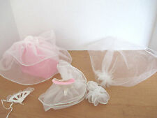Lot of 5~Barbie Clothing~WEDDING OUTFIT~Dress~Veil~Fan~Skirt