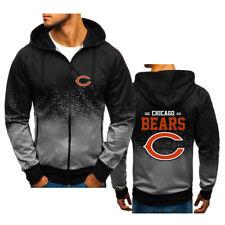 Chicago Bears Hoodie Zipper Loose 3D Fans Sweatshirt Hooded Sport Casual Jacket