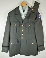Vintage US Army Military Dress Coat Uniform w/ Patch Jacket Pants Shirt Hat 38