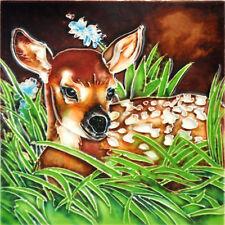 "Deer - Decorative Ceramic Art Tile - 6""x6"" by En Vogue - Art on Tiles"