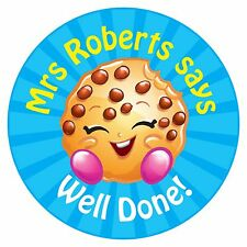 80 Pegatinas De Recompensa Profesor Personalizado alumnos Cookie azul