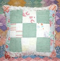 Throw Pillow Made With Vintage Farmhouse Nine Patch Plaid Feedsack Quilt #4