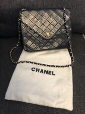 Authentic Chanel Black Leather Quilted Gold Chain Vintage Flap Bag Clutch