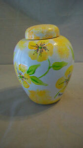Decorative Ceramic Jar or Vase with Lid, White with Yellow Flowers, Green Leaves