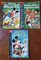 Lot of 3 Dell Giant: Mickey Mouse Almanac #1 Fantasyland, Summer Fun