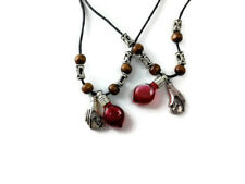 Lovers set of Blood glass vial charm necklace