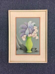 Pastel Painting Floral Still Life MCM Signed LG Vintage Home Decor Art