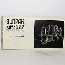 Usé Sunpak Thyristor Auto 322 Électronique Flash Manuel Imprimé En Japon O31250