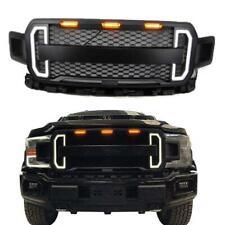 For 2018-2020 Ford F150 LED DRL Matte Black Raptor Style ABS Front Bumper Grille