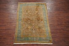 Brown 6X10 Antique Circa 1890's Indian Agra Oriental Hand Knotted Wool Area Rug