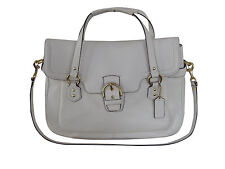 New With Tags Coach Campbell Leather Eva Flap Satchel in Ivory, F26127