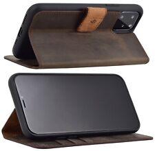 "Exclusive Leder Klapp Tasche in Braun Schutz Cover Bumper iPhone 11 Pro (5.8"")"