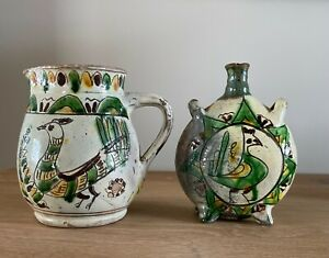 Lovely Vintage Rustic Romanian Colibaba Studio Pottery Radauti Jug And Flask